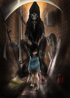 The girl and The death by Exaxuxer