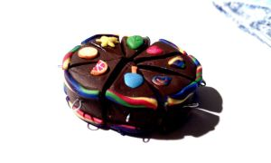 Chocolate Rainbow Cake Charms by Dawnmoon13