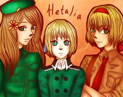 Hetalia - Hungary, Liechtenstein and Belgium by LeonRin