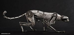 Mechanical metal cheetah creeping by Andrew-Chase