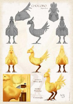 Chocobo 3D - wireframe (Square Enix) by Olesyan