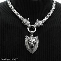 3 Snarling Wolves on Byzantine Chain Necklace by GoodSpiritWolf