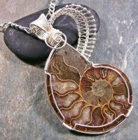 REVERSIBLE Opalized Ammonite Fossil Pendant by HeatherJordanJewelry