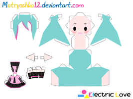 Hatsune Miku Electric Love-Papercraft by matryoshka12