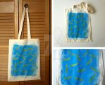 Blue and Yellow Snitch Tote Bag by lazylinepainterjane
