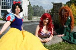 Snow White, Ariel, and Merida by MimiReaves