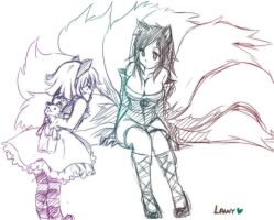 Ahri and Annie in process by lawy-chan
