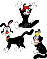 Feral Yakko, Wakko and Dot in my style by AdolfWolfed4Life