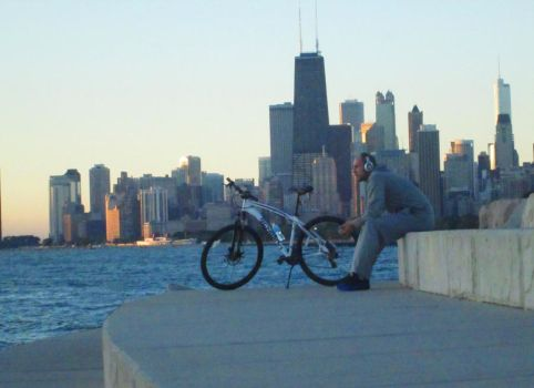 The Cyclist and The Chicago Skyline by RaCzarina