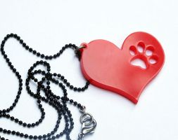Animal love necklace - dog paw by milkool