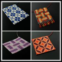 Bead loomed tile pendants by CatsWire