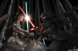 KyloRen Vs Rey by Puekkers