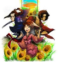 Commission: Chasing the Sunflower Samurai... by JinxCrest101