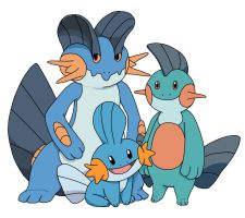 Mudkip Marshtomp and Swampert by CharmandersFlame