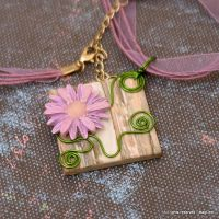 Flowers on stones pendant by Mag-Dee