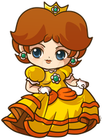 Princess Daisy _ Mario Bros Chibi Charm by pinkplaidrobot