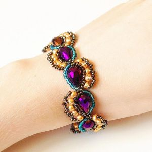 Purple, Teal, Gold, and Bronze Paisley Bracelet by lulabug