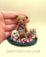 Friends and brothers-mini teddy bears by BethMiniWorld