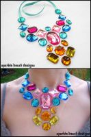 Pink Blue and Yellow Gems by Natalie526