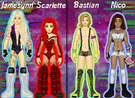 MyWWE: Jamesynn/Scarlette Vs. Bastian/Nico by TerenceTheTerrible