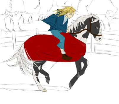Girl And Horse Sketch by ScarecrowLullaby