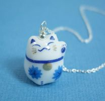 Blue Flower Lucky Cat by SpottedOctopus