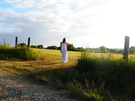 whitedress and fence4 by lampshaded-stock