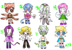 .::Adoptable Boys Points Batch 01::.[ONE LEFT!!] by bearkind