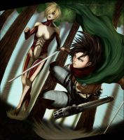 SnK Mikasa vs Female Titan - colored by CoatlAkuma