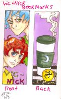 vic and nick bookmarks purple by huntress-for-life