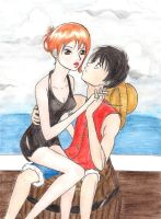 Nami x Luffy from One Piece by SpringSnowflakes