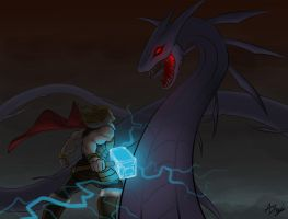 Thor and the World Serpent by BigAzza