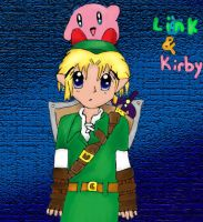 Link and Kirby by epona675