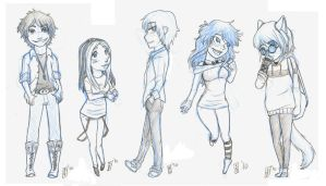 E.N group sketch chibi's by Moophles