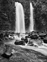 Cindulang Waterfall in BW by thesaintdevil