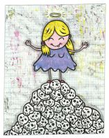 Girl On A Mountain Of Skulls by justinaerni