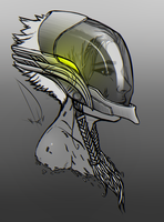 Girl with Helmet Doodle by kaniphish