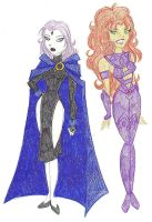 Raven and Starfire by Shuggie