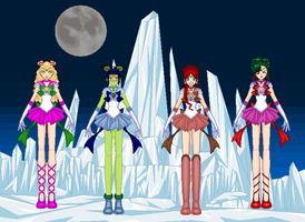 SSMU Sailor Comet, Tempura, Meteor and Nibiru by monsterhighlover3