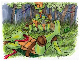 TMNT: Relaxing in the Forest by loolaa