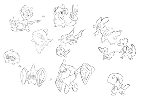 Fakemon Sketches 2 by SteveO126