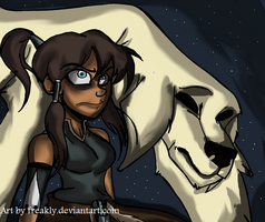 Korra and Naga by Freakly-Show
