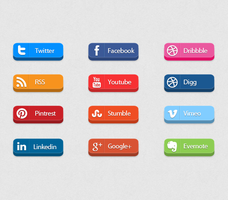 3D social media buttons by FreeIconsdownload