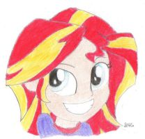 Sunset Shimmers (selfie face) by BrogarArts