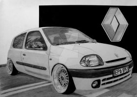 Reanaul Clio II On BBS Rs Drawing by hary1908
