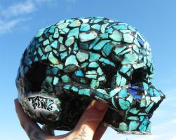 human skull inlay turquoise by tattoopink