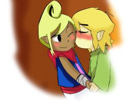Tetra and Link - On the cheek - Bonus by ViciousWW