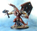 Khorne themed Chaos Space Marines Daemon Prince by darkcornerpainting