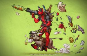 Deadpool On A Donkey by ArtistAbe
