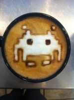Space Invader Latte by Coffee-Katie